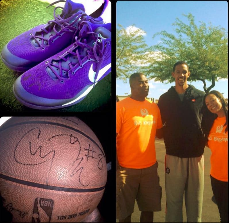 Channing Frye donated an autographed basketball and pair of shoes !