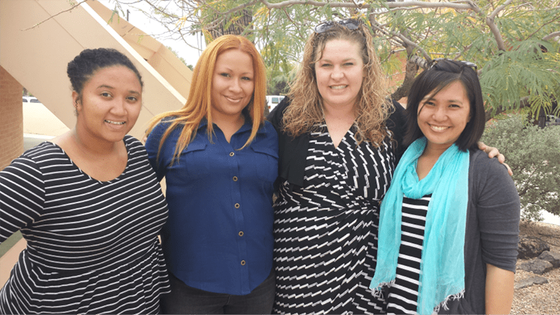 Santana, Margie, Michelle and Amy celebrate with the rest of the Phoenix Church family Margie's restoration!