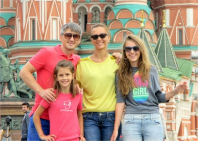 Oleg, Aliona, Sofiia and Lydiia in Red Square during the Summer of 2014!