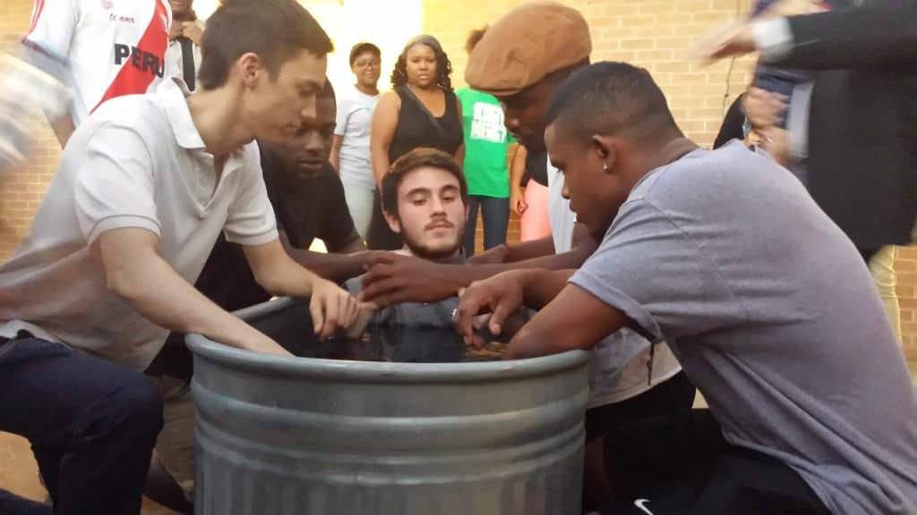 Casey Clegg, Marvell Holder, and King Burke all prepare to pray with Richard Beach, just before he is baptized into Christ!