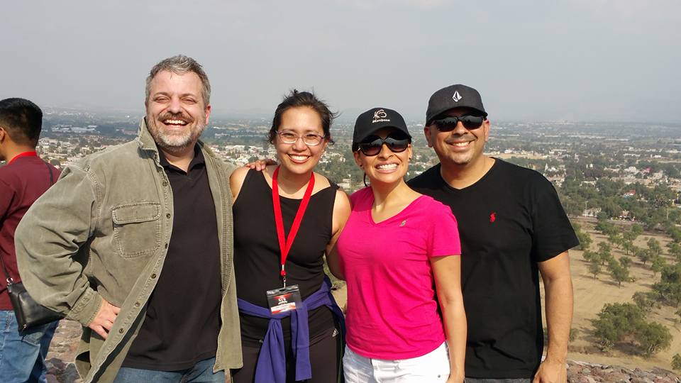 """Jeremy & Amy Ciaramella pictured with Carlos and Lucy Mejia at the summit of the """"Pyramid of the Son"""""""