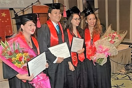The proud graduates - Cathy, John, Anna and Gina