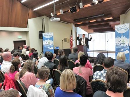 Joel Parlour preaching the sermon, SLEEPLESS IN SEATTLE!