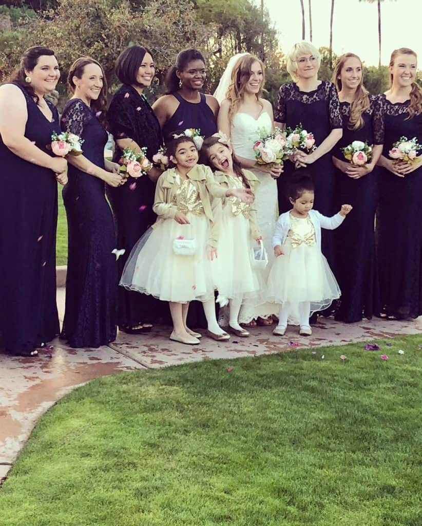 A cute and candid moment with the flower girls and the bridesmaids! Nelson's and Sydney's wedding was an inspiring time!